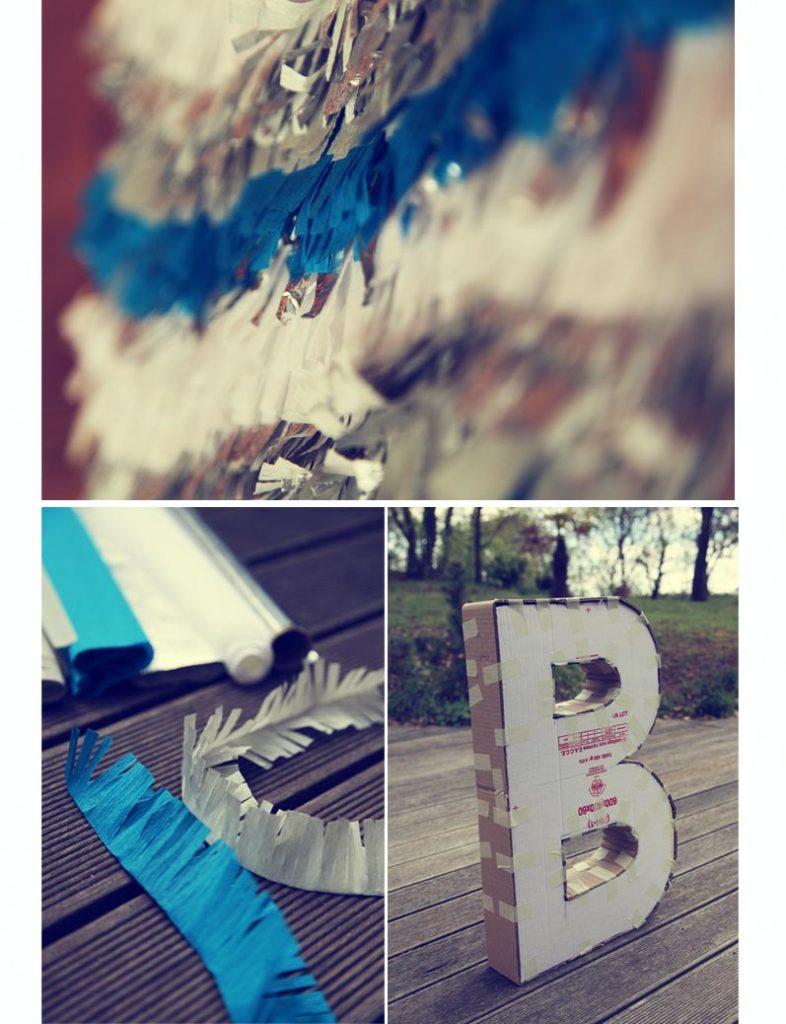 DIY lettre pinata en bleu argent blanc