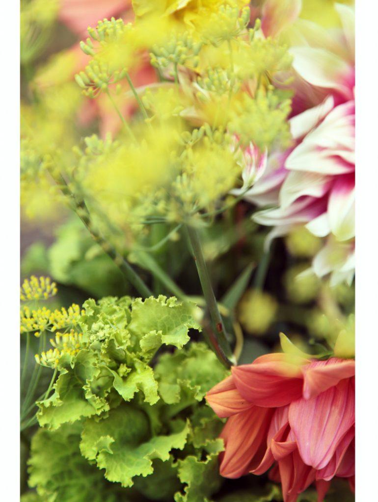 bouquet de dalhia salade verte aneth