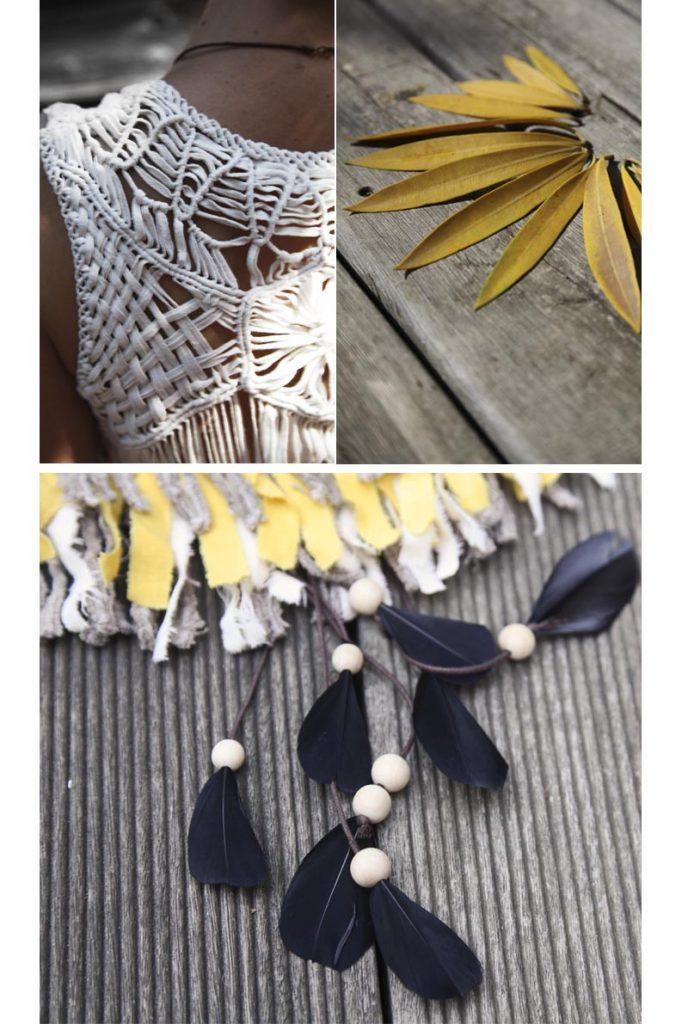 collier indien franges perles plumes